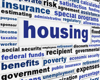 Housing social issue creative design. Government support word clouds creative poster Royalty Free Stock Images