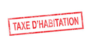 Housing tax in French translation in red rectangular stamp Stock Images