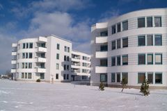 Housing units. In the winter Royalty Free Stock Photo