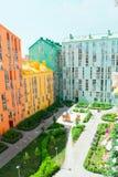 housing verklig bostadssikt för abstrakt flyg- gods för bakgrundsbyggnader färgrikt Fastighet och hus Royaltyfria Foton
