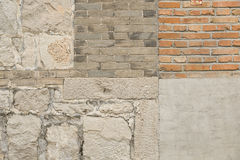 A HOUSING WALL IN COUNTRYSIDE. TEXTURES OF A COUNTRYSIDE HOUSING  WALL CONSTRUCTED WITH BOTH RED AND GREY BRICK AND STONE AS BACKGROUNDS Royalty Free Stock Image