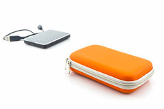 Housse de transport externe d'unité de disque dur Sacs pour l'unité de disque dur externe Images stock
