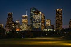 Houston śródmieście przy nocą zdjęcie royalty free