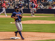 Houston Astros Jose Altuve 2017. March 26, 2017 - West Palm Beach, Florida : Jose Altuve of Houston Astros steps onto third in Spring Training game with stock photography