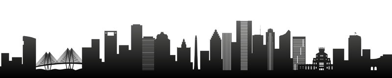 Houston, black silhouette skyscrapers and buildings. Panorama view Royalty Free Stock Images