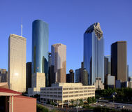 Houston City Hall with Downtown Skyline stock photography