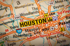 Houston City. Map Photography: Houston City on a Road Map stock images