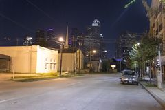Houston from midtown at night stock photography