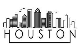 Houston City Silhouette linear con diseño tipográfico ilustración del vector