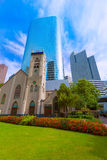Houston cityscape Antioch Church in Texas US. Houston cityscape and Antioch Baptist Church in Texas US royalty free stock photo