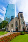 Houston cityscape Antioch Church in Texas US. Houston cityscape and Antioch Baptist Church in Texas US stock photo
