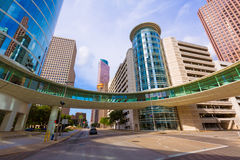 Houston cityscape Bell and Smith St in Texas US Royalty Free Stock Photos