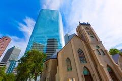 Houston cityscapeAntioch kyrka i Texas USA Fotografering för Bildbyråer