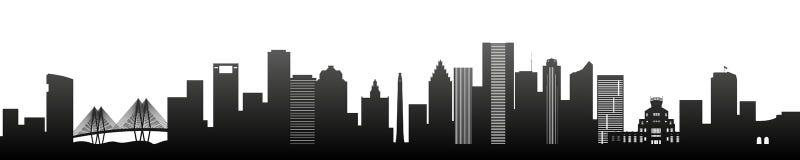 Houston, czarni sylwetka drapacze chmur i budynki, ilustracja wektor