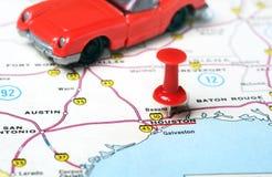 Houston de V.S. brengt auto in kaart Stock Afbeelding