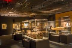 HOUSTON, DE V.S. - 12 JANUARI, 2017: Expositie van verschillende sarcofaag binnen van het gebouw in het Oude gebied van Egypte Stock Foto's