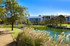 Houston Discovery-Grünpark herein in die Stadt stockbilder