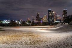 Houston do centro na noite com queda de neve em Eleanor Park Imagens de Stock Royalty Free