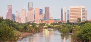 Houston Downtown Bayou River Sunset Imagenes de archivo