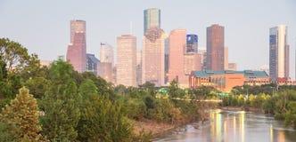 Houston Downtown Bayou River Sunset Fotos de archivo