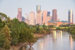Houston Downtown Bayou River Sunset royalty free stock images