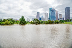 Houston Downtown Flood Royaltyfria Foton