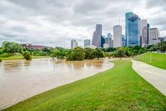 Houston Downtown Flood Immagini Stock Libere da Diritti