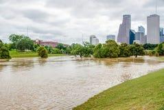 Houston Downtown Flood image stock