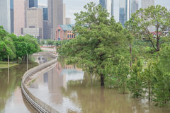 Houston Downtown Flood Photos stock