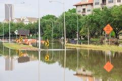 Houston Downtown Flood stock photo