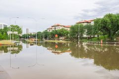 Houston Downtown Flood royalty free stock images