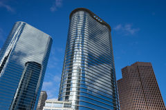 Houston downtown highrises. Houston texas downtown highrises on a sunny day stock photo