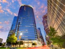Houston Downtown-horizonzonsondergang in Texas de V.S. Stock Afbeeldingen
