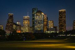 Houston Downtown la nuit photo libre de droits
