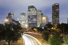 Houston downtown at night, Texas Royalty Free Stock Photos