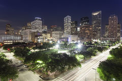 Houston Downtown at Night Stock Photography