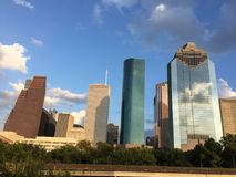 Houston downtown panoramic. Of the west side of the city. Nice blue sky with modern architecture Royalty Free Stock Photo