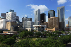 Houston Downtown Skyline avec Sun lumineux Images libres de droits