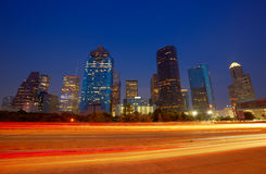 Houston downtown skyline at sunset dusk Texas. Houston downtown skyline at sunset dusk in Texas US USA Royalty Free Stock Photo
