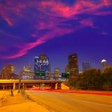 Houston downtown skyline at sunset dusk Texas Royalty Free Stock Image