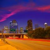 Houston downtown skyline at sunset dusk Texas Stock Photography