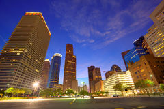 Houston Downtown skyline at sunset Texas US Stock Photos