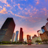 Houston Downtown skyline at sunset Texas US Stock Photography
