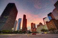 Houston Downtown skyline at sunset Texas US Royalty Free Stock Image