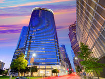 Houston Downtown-Skylinesonnenuntergang bei Texas US lizenzfreies stockfoto