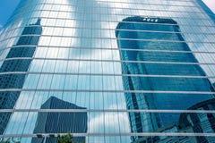 Houston downtown skyscrapers disctict blue sky mirror stock photo
