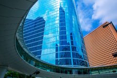 Houston downtown skyscrapers disctict blue sky mirror. Houston downtown skyscrapers disctict with mirror blue sky reflection Royalty Free Stock Photos