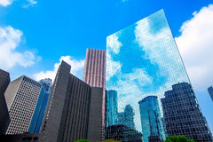 Houston downtown skyscrapers disctict blue sky mirror Royalty Free Stock Photos