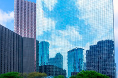 Houston downtown skyscrapers disctict blue sky mirror Royalty Free Stock Images