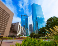 Houston downtown Smith St skyline Texas US Stock Photos